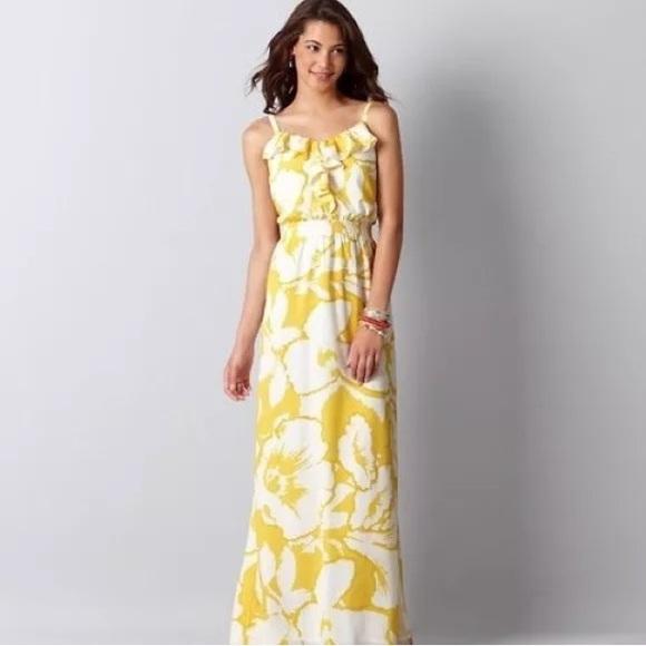 1b081df9bb LOFT Dresses & Skirts - Ann Taylor LOFT yellow hibiscus floral Maxi Dress